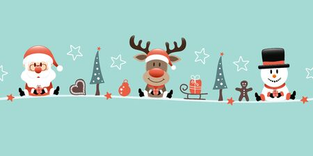 Banner Santa Reindeer And Snowman With Icons Turquoise