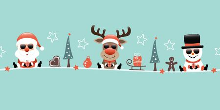 Banner Santa Reindeer And Snowman With Sunglasses And Icons Turquoise Illusztráció