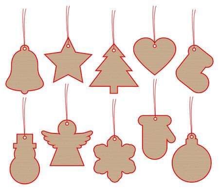Set Of Ten Christmas Hangtags Brown Paper With Red Frame