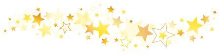 Horizontal Border Different Golden And Brown Stars Illusztráció