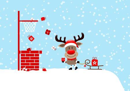 Reindeer On Roof With Sleigh Basketball Snow Light Blue