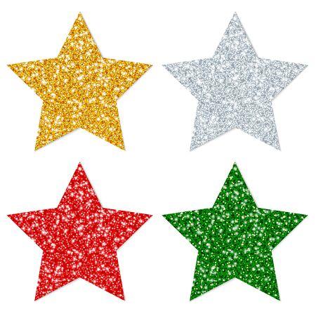 Square Set Of Four Straight Stars Sparkling Gold Silver Red Green Illusztráció