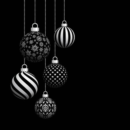 Five Hanging Christmas Baubles With Pattern Black And Silver