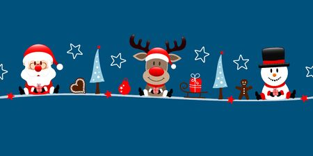 Dark Blue Banner Santa Reindeer And Snowman With Icons Illusztráció