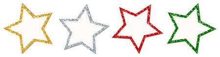 Set Of Four Twisted Stars Frame Sparkling Gold Silver Red Green Illusztráció