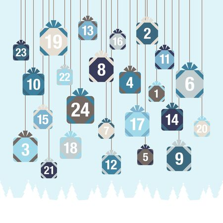 Advent Calendar Hanging Christmas Gifts Above Forest Blue And White