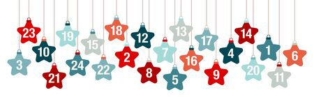 Banner Advent Calendar Hanging Stars Red And Blue