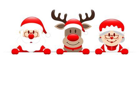 Santa Reindeer And Mrs. Santa Holding Horizontal Banner