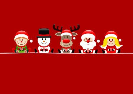 Red Card Elf Snowman Reindeer Santa And Angel