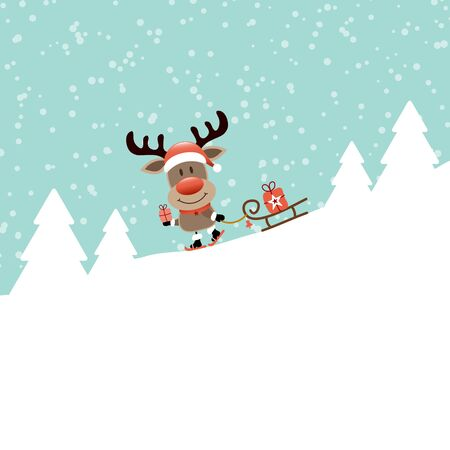 Reindeer Rides Ski With Sleigh One Gift At The Forest Snow Blue