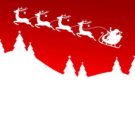 Christmas Sleigh Reindeer With Stars Flying To The Left Forest Red Background
