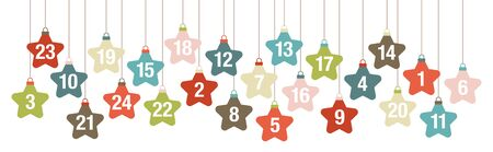 Banner Advent Calendar Graphic Hanging Stars Retro Color