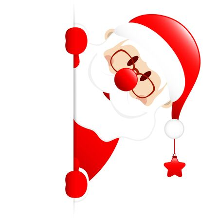 Santa Claus With Star On The Right Side Horizontal Banner