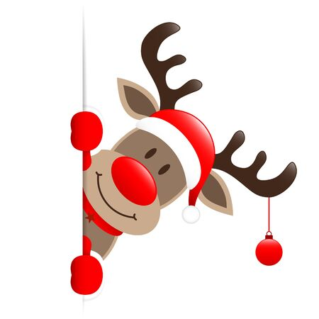 Reindeer With Bauble Looking Outside Banner Right