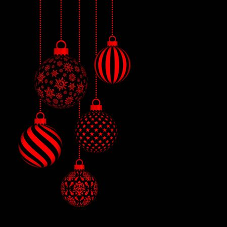 Five Hanging Christmas Baubles With Pattern Black And Red