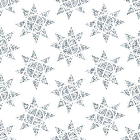 Seamless Pattern Big Silver Christmas Stars Glitter