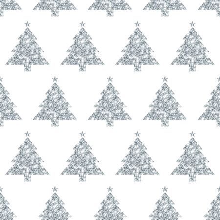Seamless Pattern Straight Silver Tree With Stars Glitter Sparkling