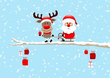 Reindeer Pulling Sleigh With Santa On Bough Light Blue