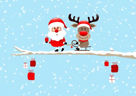 Santa Pulling Sleigh With Reindeer On Bough Light Blue Standard-Bild - 132715916