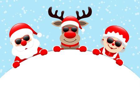 Santa Reindeer And Mrs. Santa Sunglasses Holding Banner Snow Light Blue