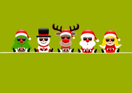 Light Green Card Tree Snowman Reindeer Santa And Angel With Sunglasses Illustration