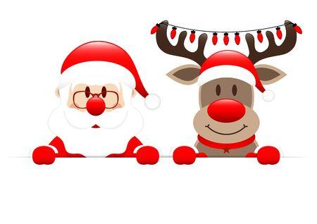 Święty Mikołaj i renifery trzymające poziome lampki świąteczne