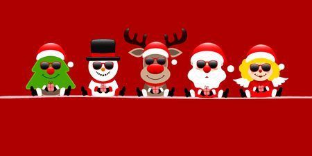 Red Banner Tree Snowman Reindeer's Santa And Angel With Sunglasses