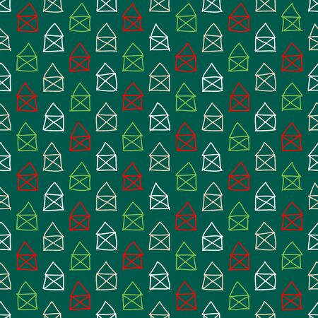 Seamless Pattern Little Scribbled Houses Green Red White