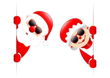 Big Santa Claus And Wife Sunglasses Inside Banner