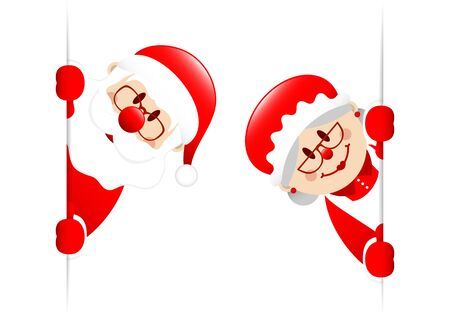Big Santa Claus And Wife Inside Banner Ilustracja