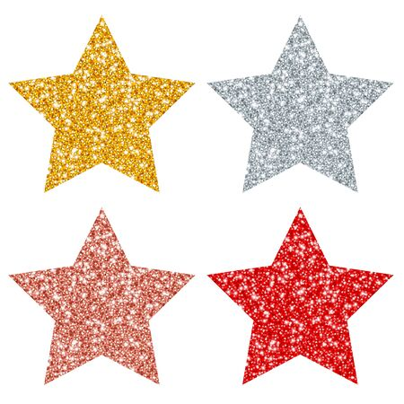 Square Set Of Four Straight Stars Sparkling Gold Silver Copper Red