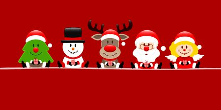 Red Banner Tree Snowman Reindeers Santa And Angel Ilustracja