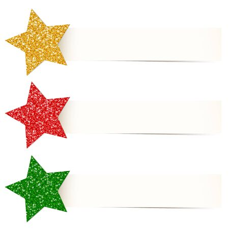 Set Three Beige Banners With Glitter Stars Gold Red Green