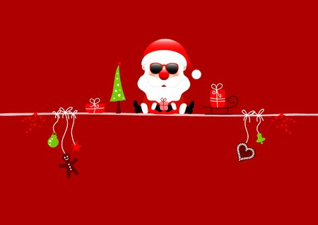 Red Card Santa Claus With Sunglasses And Christmas Icons Red Background