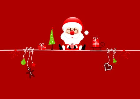 Red Card Santa Claus And Christmas Icons Red Background