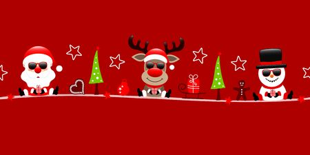 Red Banner Santa Claus Reindeer And Snowman With Sunglasses And Icons
