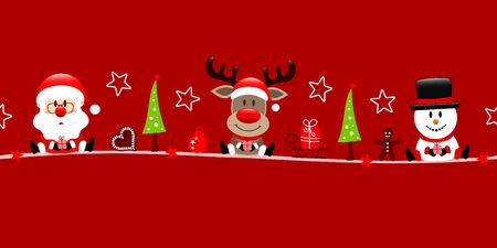 Red Banner Santa Claus Reindeer And Snowman With Icons Ilustracja