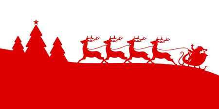 Banner To The Left Running Christmas Sleigh Four Reindeer In Forest Red Illustration