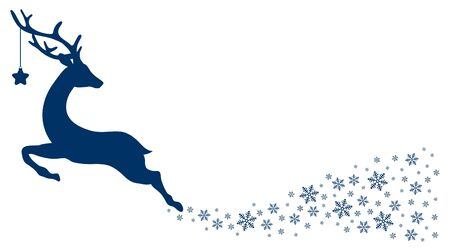 Dark Blue Flying Reindeer With Star Looking Back Snowflakes