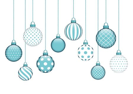 Card Ten Hanging Christmas Baubles With Different Pattern Turquoise White