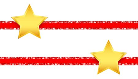 Two Horizontal Red Glitter Ribbons With Shining Golden Stars Ilustracja