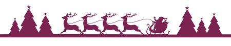 Banner Running Christmas Sleigh With Forest Purple