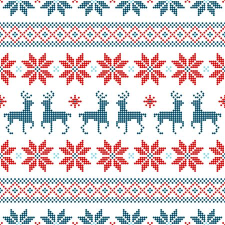 Seamless Pattern Christmas Norwegian Style Dots Red Blue White