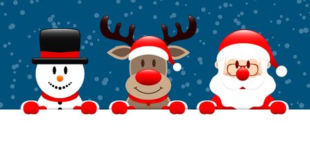 Snowman Reindeer And Santa Claus Horizontal Banner Snow Dark Blue Ilustracja