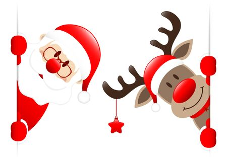 Santa Claus And Reindeer With Star Looking Inside Banner