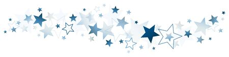 Horizontal Border Of Dark Blue Big And Little Stars Ilustracja