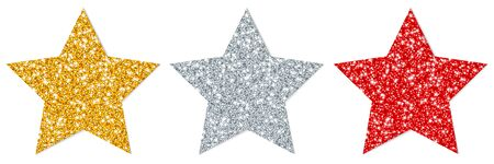 Set Of Three Straight Stars Sparkling With Shadow Gold Silver Red Ilustracja