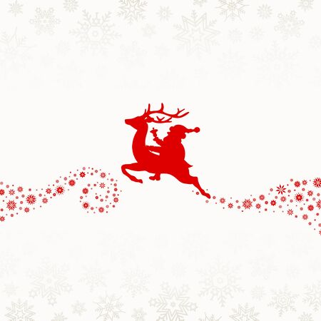 Red Riding Santa On Reindeer With Snowflakes Beige Background Ilustracja