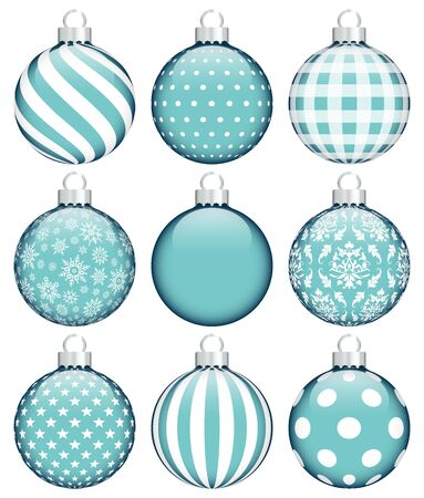 Set Of Nine Christmas Baubles Pattern Turquoise White Silver Ilustracja