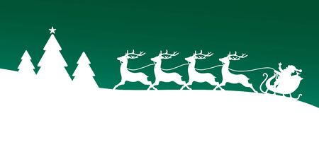 To The Left Running Christmas Sleigh With Forest Dark Green Background